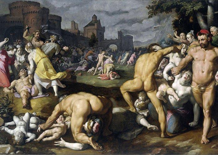 Cornelis Cornelisz Van Haarlem Greeting Card featuring the painting Massacre Of The Innocents by Cornelis Cornelisz van Haarlem
