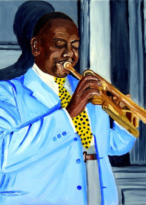 Street Musician Greeting Card featuring the painting Master Of Jazz by Michael Lee