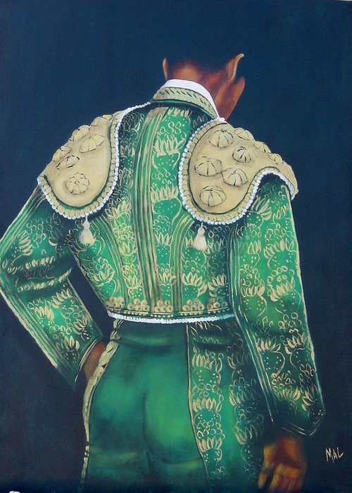 Spanish Greeting Card featuring the painting Matador 2 by Marlyn Anderson