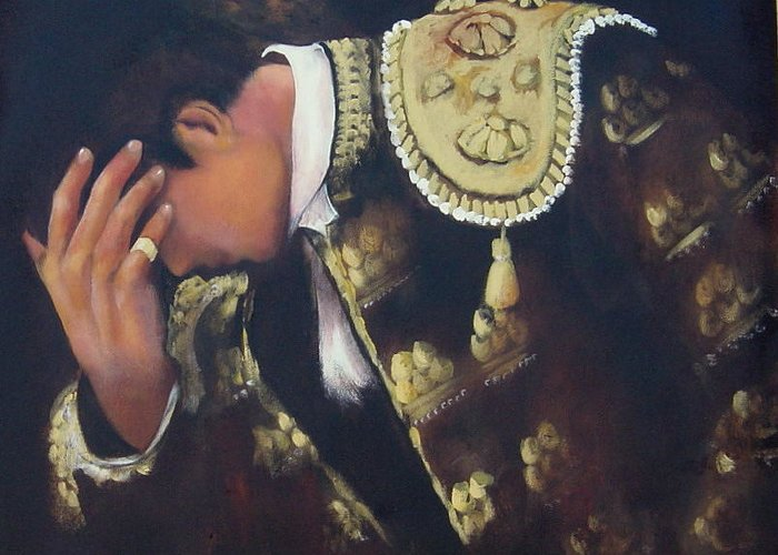 Spanish Greeting Card featuring the painting Matador by Marlyn Anderson