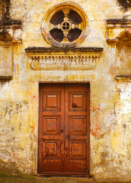 Wood Greeting Card featuring the photograph Matera Church Door by Rob Tullis