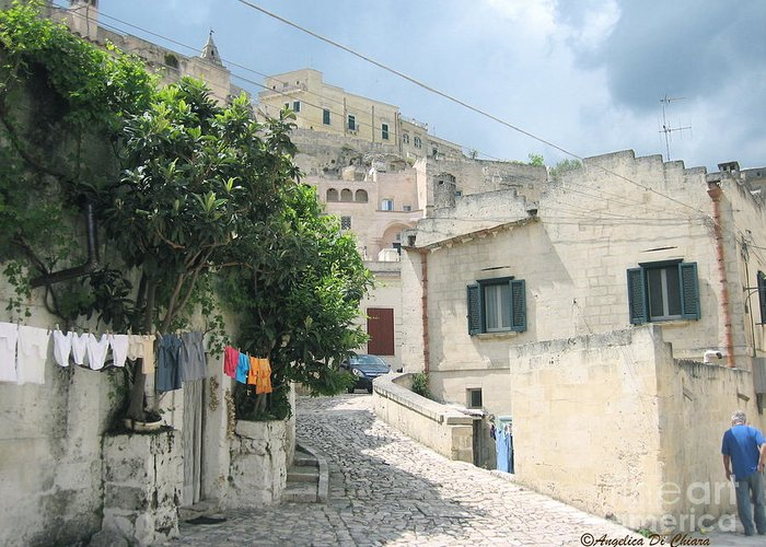 Cityscape Greeting Card featuring the photograph Matera's Colorful Laundry by Italian Art