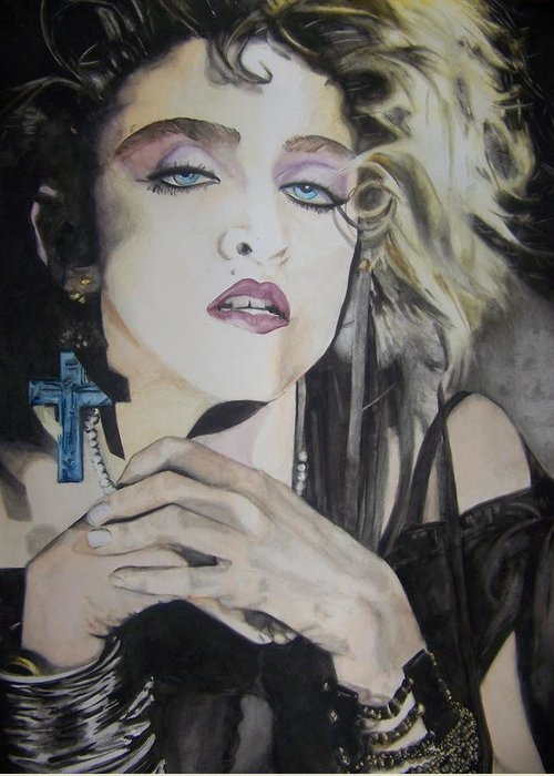 Madonna Greeting Card featuring the painting Material Girl by Lance Gebhardt