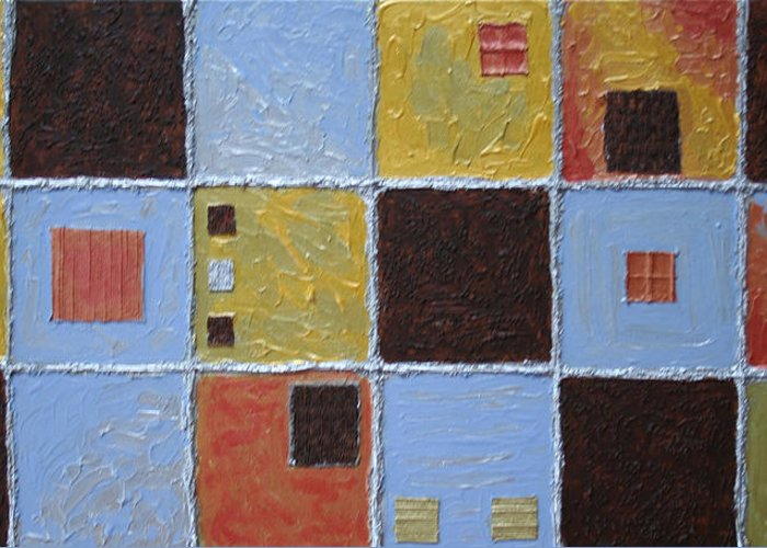 Collage Greeting Card featuring the painting Material World by Amy Parker Evans