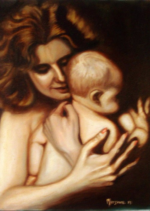Portrait Greeting Card featuring the painting Maternal Love by Lia Marsman