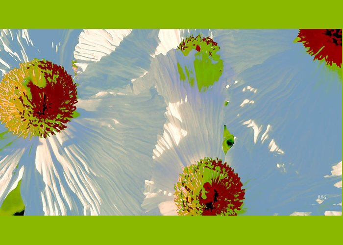 Floral Abstract Greeting Card featuring the photograph Matilija Poppies Pop Art by Ben and Raisa Gertsberg