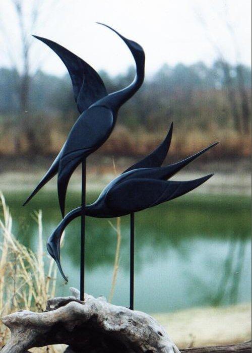 Sculptures Greeting Card featuring the sculpture Mating Dance by Matt Cormons