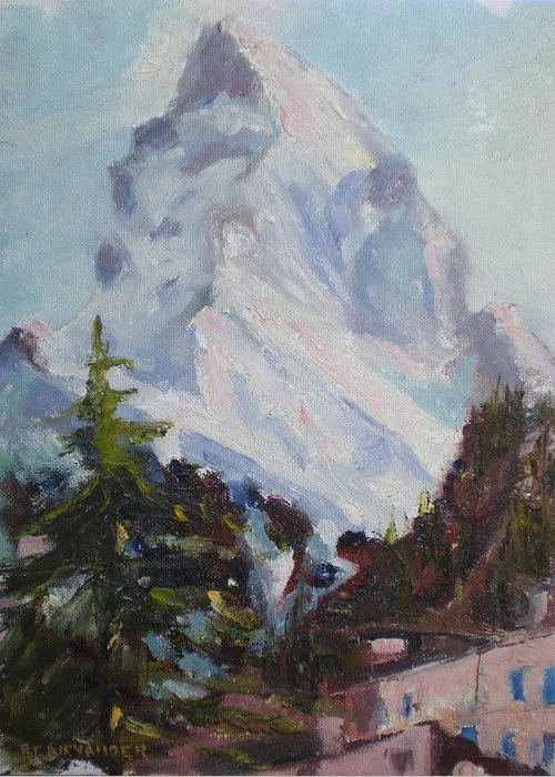 Switzerland Historic Climbing Mountain Greeting Card featuring the painting Matterhorn At 8 Pm by Bryan Alexander