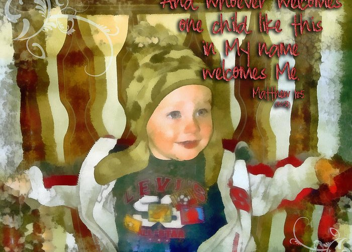 Jesus Greeting Card featuring the digital art Matthew 18 5 by Michelle Greene Wheeler