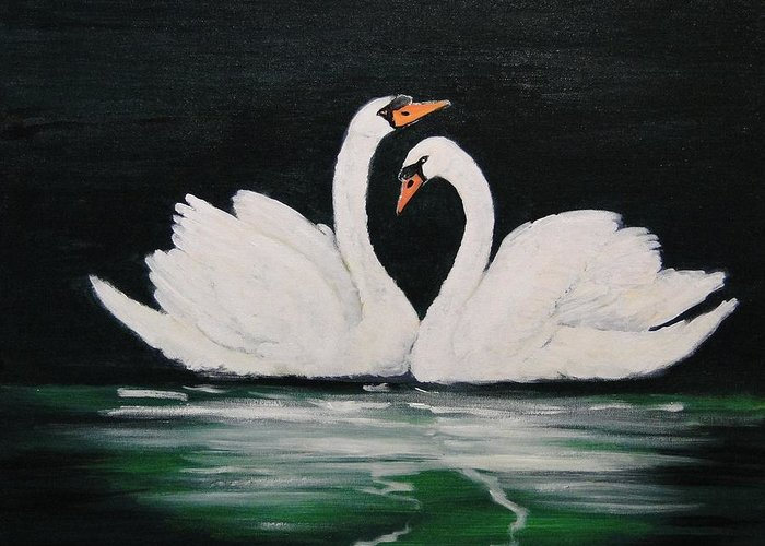 Swans Greeting Card featuring the painting Matting Game by Dorothy Denmon
