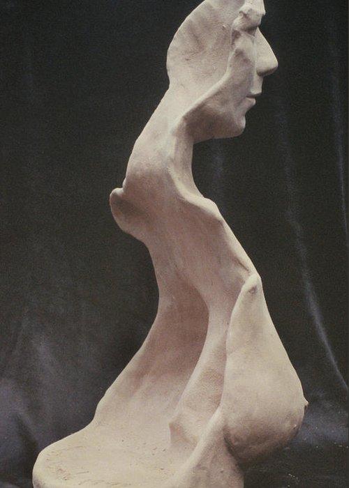 Firgutive Sculpture Sculptures Greeting Card featuring the sculpture Maturity by Sarah Biondo
