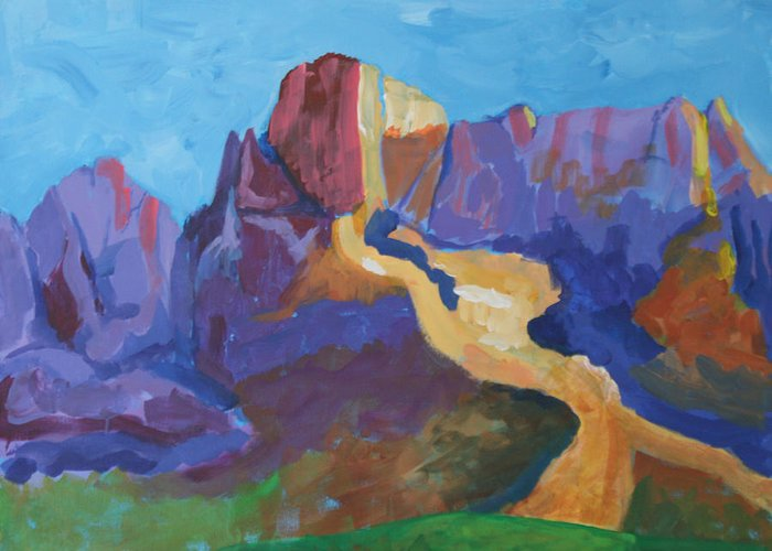 Landscape Greeting Card featuring the painting Mauve Catalina by Mordecai Colodner