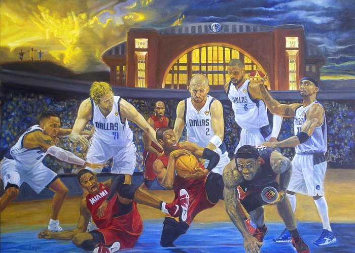 Mavs Greeting Card featuring the painting Mavericks Defeat The King And His Court by Luis Antonio Vargas