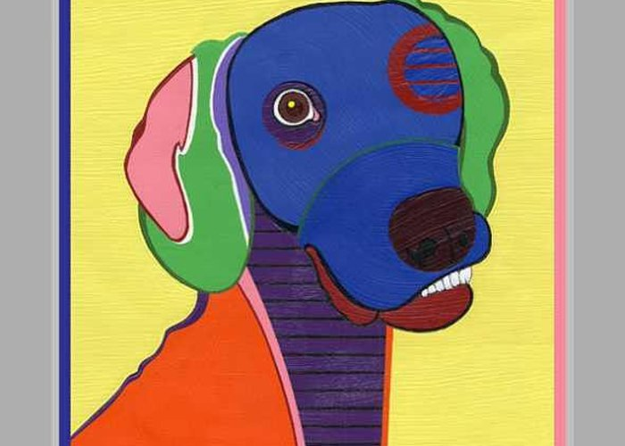 Pop Art Greeting Card featuring the painting Max The Weimaraner by Ruby Persson