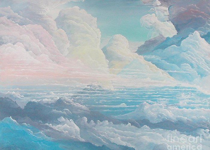 Cloudscape Greeting Card featuring the painting May Colored Clouds by John Wise
