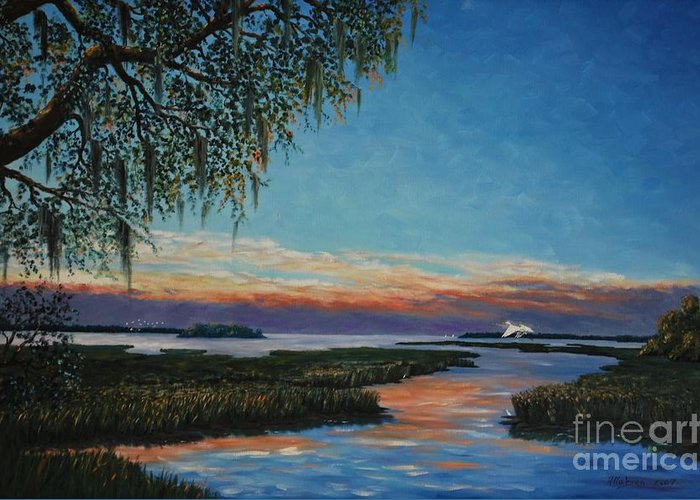Sunset Greeting Card featuring the painting May River Sunset by Stanton Allaben