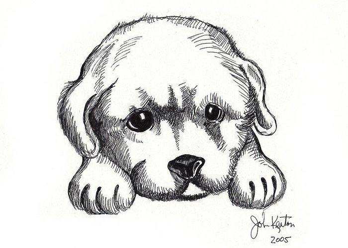 Puppies Greeting Card featuring the drawing Maya 2 by John Keaton