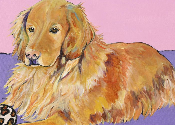 Golden Retriever Greeting Card featuring the painting Maya by Pat Saunders-White