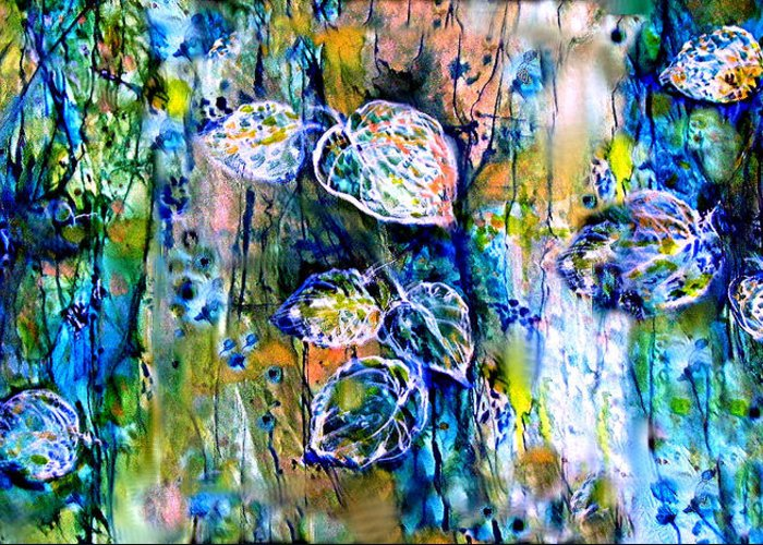 Leaves Greeting Card featuring the painting Mayan Memory by Mary Sonya Conti