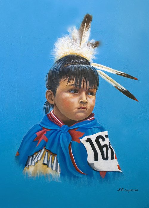 Native American Indian Dancing Girl Greeting Card featuring the painting Maybe Next Time by Brooke Lyman