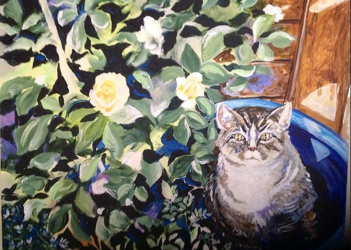 Cat In The Rose Bush Greeting Card featuring the painting Maybe They Won't See Me by Susan Jacobsen