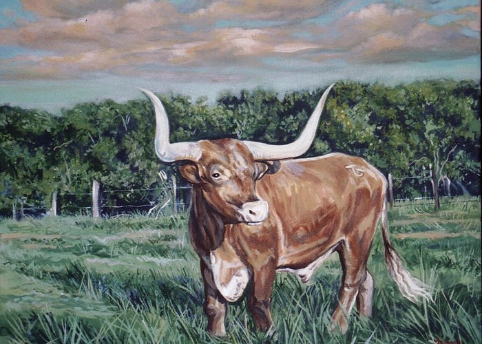 Bull Greeting Card featuring the painting Mays Longhorn by Diann Baggett