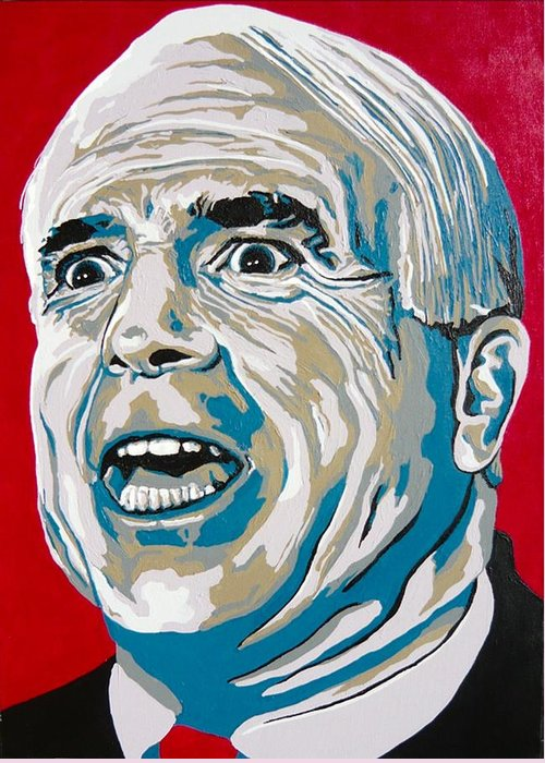 Politics Greeting Card featuring the painting Mccain by Dennis McCann