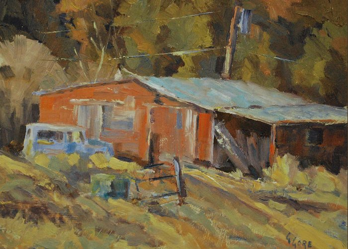 Barn Greeting Card featuring the painting Mccarthy's Shed by Gary Gore