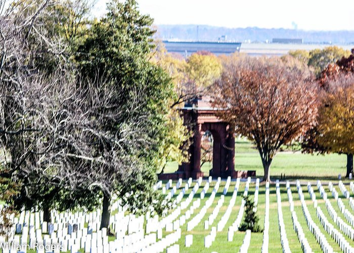 This Is A Photo Looking Down The Hill At Arlington Cemetery At The Backside Of Mcclellan's Gate Greeting Card featuring the photograph Mcclellans Gate by William Rogers