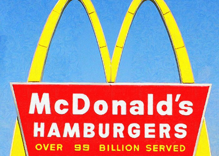 Mcdonalds Greeting Card featuring the photograph Mcdonalds Hamburgers . Over 99 Billion Served by Wingsdomain Art and Photography