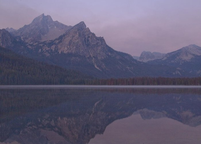 Mcgowen Peak At Sunrise; Sawtooths In Idaho Greeting Card featuring the photograph Mcgowen Peak At Sunrise by John Higby