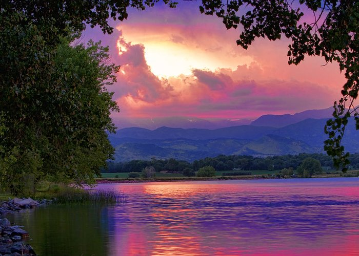 Sunsets Greeting Card featuring the photograph Mcintosh Lake Sunset by James BO Insogna