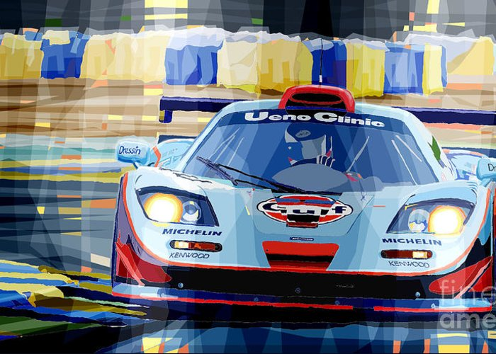 Automotive Greeting Card featuring the digital art Mclaren Bmw F1 Gtr Gulf Team Davidoff Le Mans 1997 by Yuriy Shevchuk