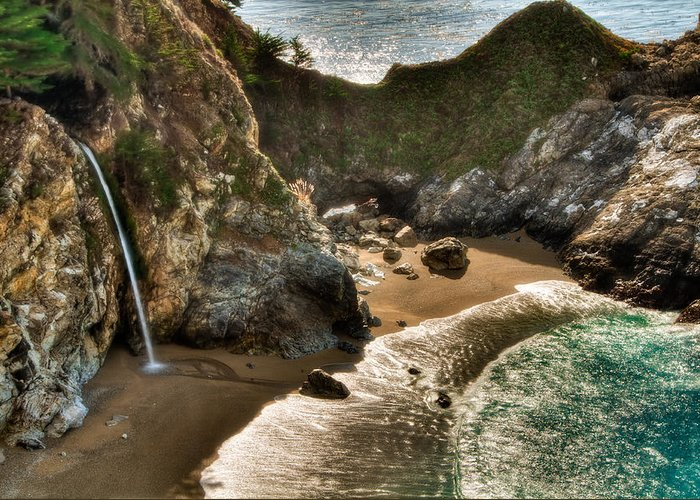 Beach Greeting Card featuring the photograph Mcway Falls Hwy 1 California by Connie Cooper-Edwards