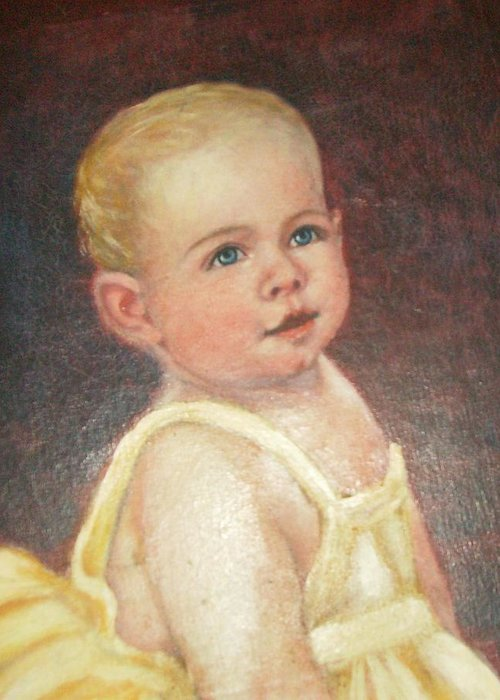 Babygirlcuteblondhair Greeting Card featuring the painting Me 2 by Anne-Elizabeth Whiteway