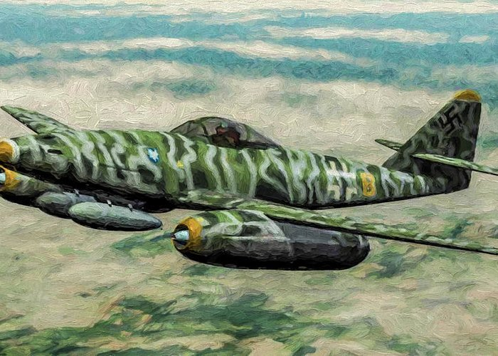 Me-262 Swallow In Oil Greeting Card