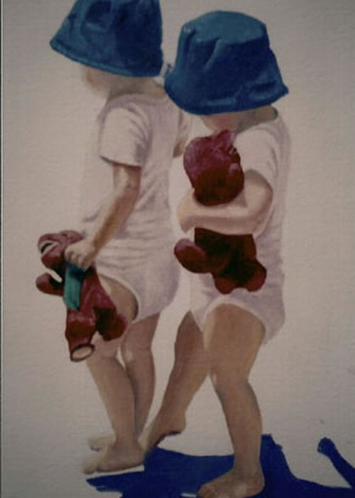 Children Greeting Card featuring the painting Me And My Shadow by Fran Rittenhouse-McLean