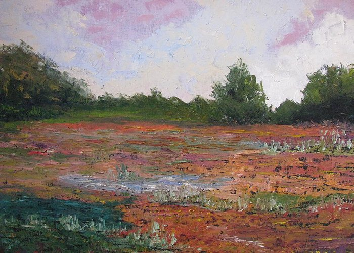 Landscape Greeting Card featuring the painting Meadow Creek - Late Summer by Belinda Consten