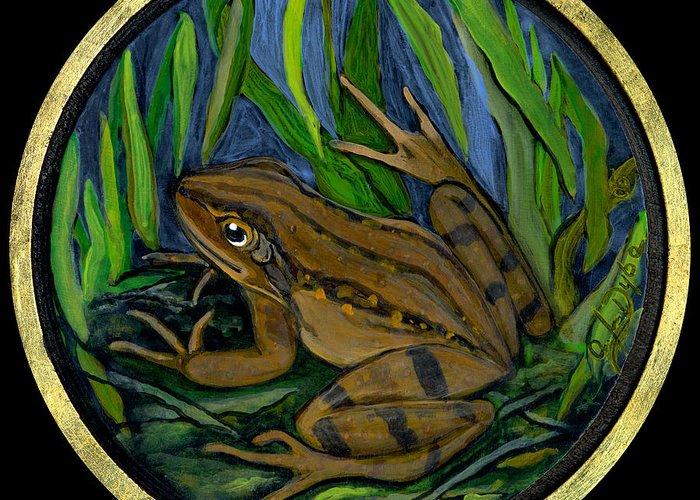 Folkartanna Greeting Card featuring the painting Meadow Frog by Anna Folkartanna Maciejewska-Dyba