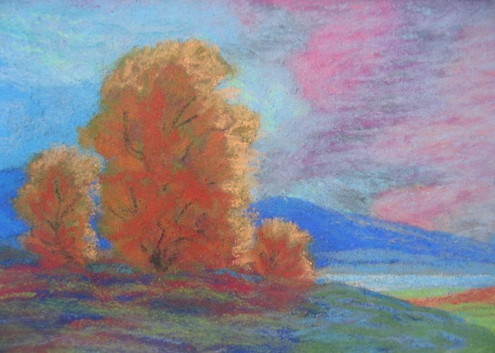 Landscape Greeting Card featuring the painting Meadowland by Belinda Consten