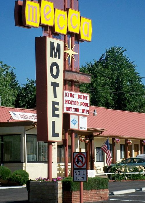 Vintage Motel Signs Greeting Card featuring the photograph Mecca Motel by Anita Burgermeister