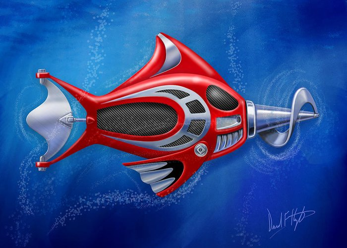 Fish Greeting Card featuring the digital art Mechanical Fish 1 Screwy by David Kyte