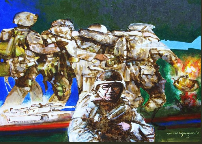 Military In Iraq Greeting Card featuring the painting Med Evac Battle For Fallujah Iraq by Howard Stroman