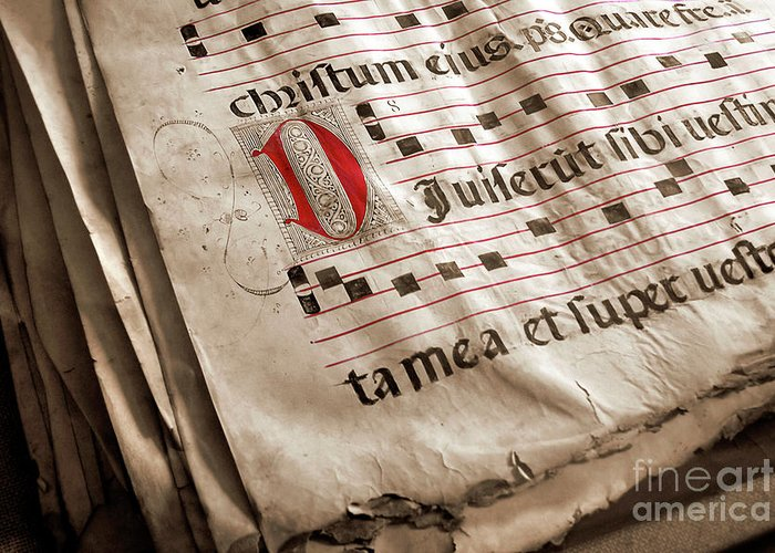 Aged Greeting Card featuring the photograph Medieval Choir Book by Carlos Caetano
