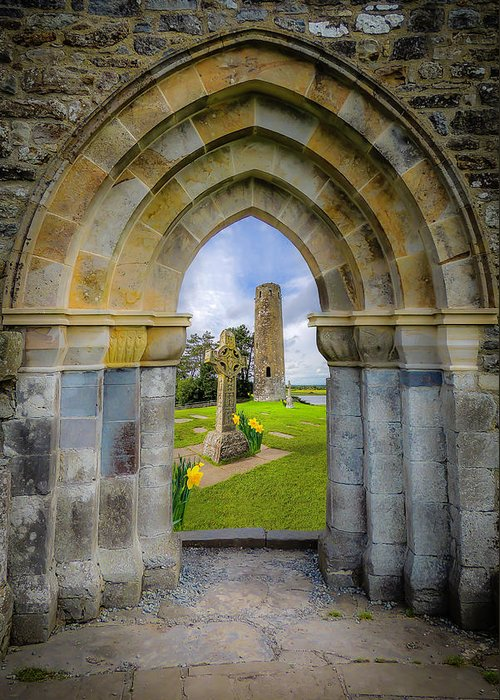 Clonmacnoise Greeting Card featuring the photograph Medieval Irish Countryside by James Truett