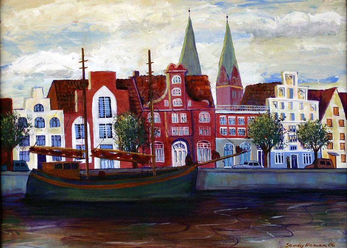 Lubeck Greeting Card featuring the painting Medieval Town In Lubeck Germany by Art Nomad Sandra Hansen