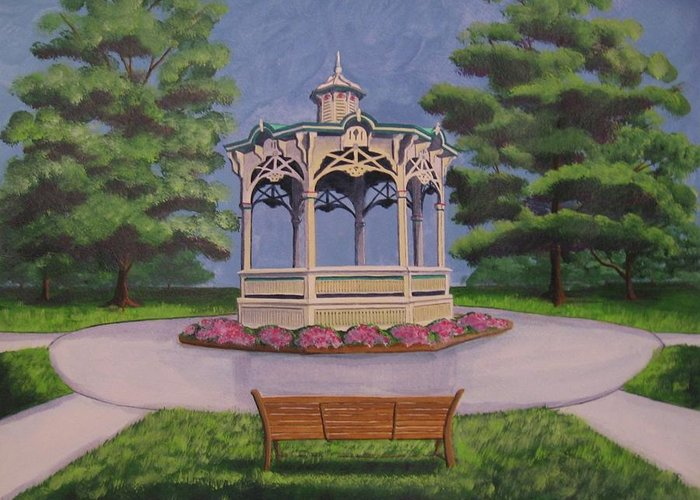 Landscape Greeting Card featuring the painting Medina Gazebo by CB Woodling