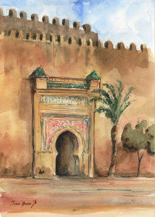 Morocco Art Greeting Card featuring the painting Medina Morocco, by Juan Bosco