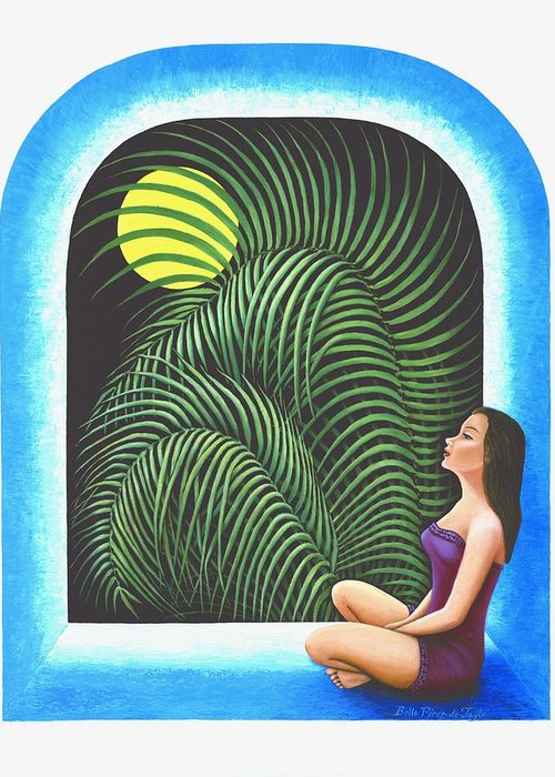 Yoga Relaxation Greeting Card featuring the painting Meditation by Belle Perez-de-Tagle