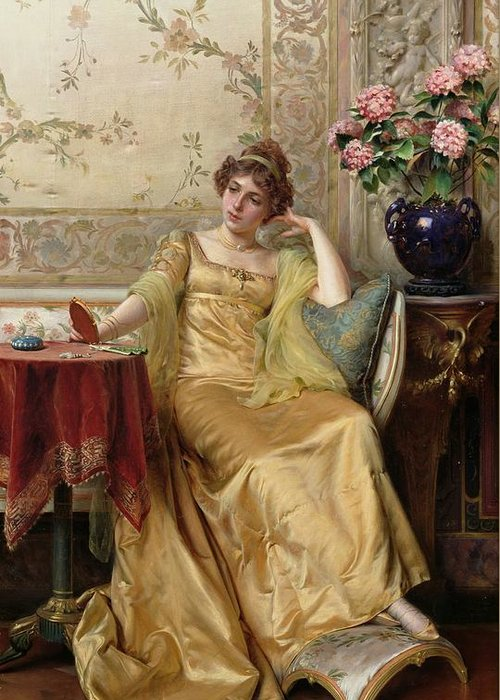 Meditation (oil On Canvas)female; Portrait; Thinking; Pensive; Reverie; Idle; Evening; Gown; Flowers; Interior; Vase; Hand Mirror; Foot Stool; Rest; Footstool; Gold; Golden; Dress; Waiting; Vanity;thinker Greeting Card featuring the painting Meditation by JFC Soulacroix